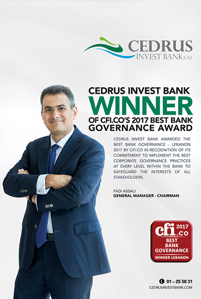 Best Bank Governance Award – Cedrus Invest Bank