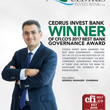 Best Bank Governance Award – Cedrus Invest Bank